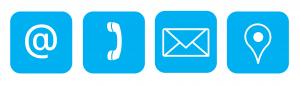 Ikony maila, telefonu, koperty pocztowej i łezka oznaczająca punkt