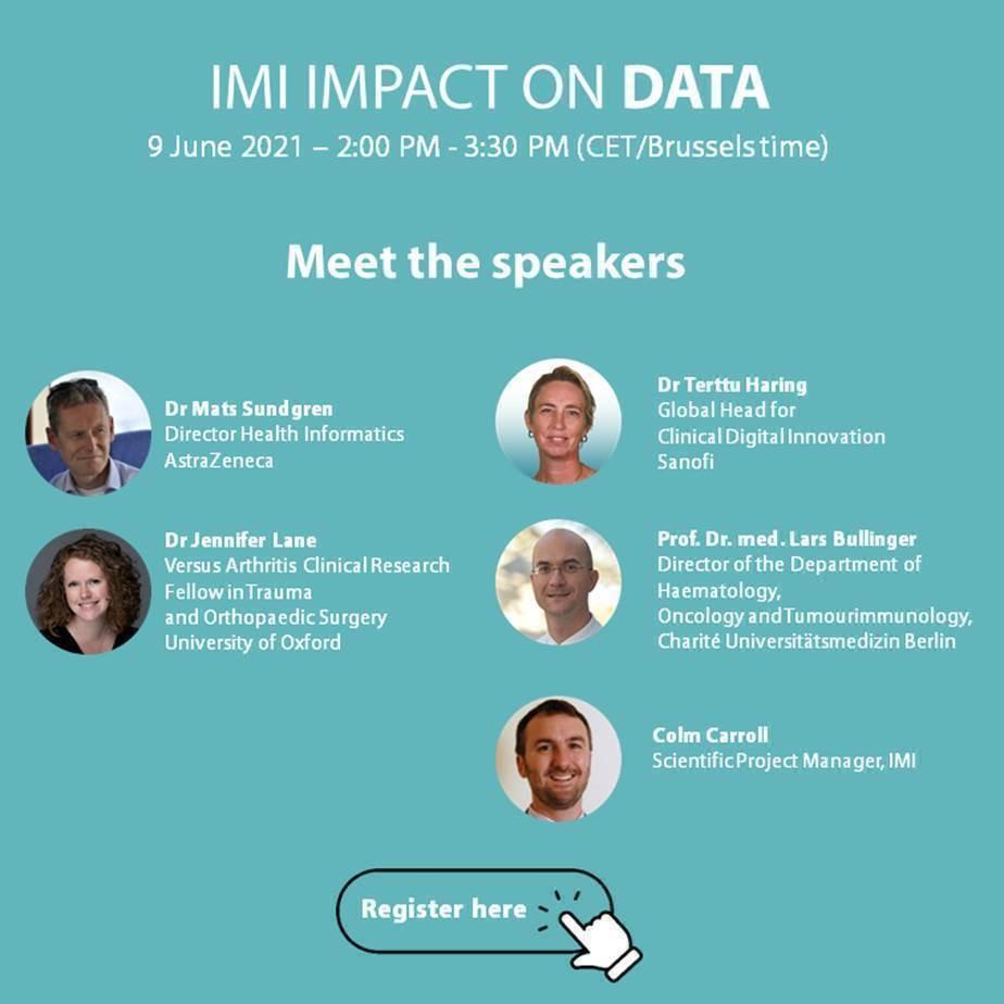 Zaproszenie na debatę IMI Impact on Data. 9 czerwca 2021 w godzinach 14 - 15:30. Zdjęcia prelegentów
