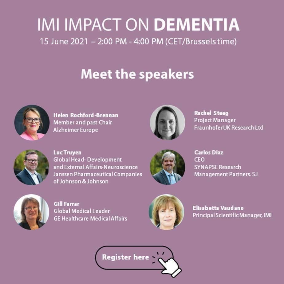 Zaproszenie na debatę IMI Impact on Dementia. 15 czerwca 2021 w godzinach 14:00 - 16:00. Zdjęcia prelegentów