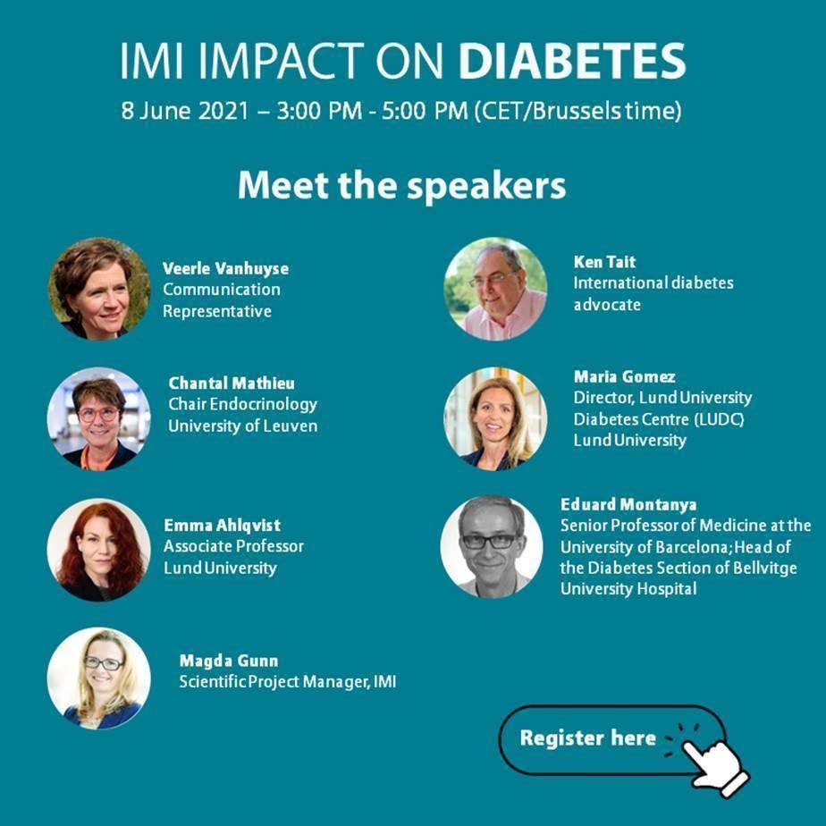 Zaproszenie na debatę IMI Impact on Diabets 8 czerwca 2021 w godzinach 15-17. Zdjęcia speakerów